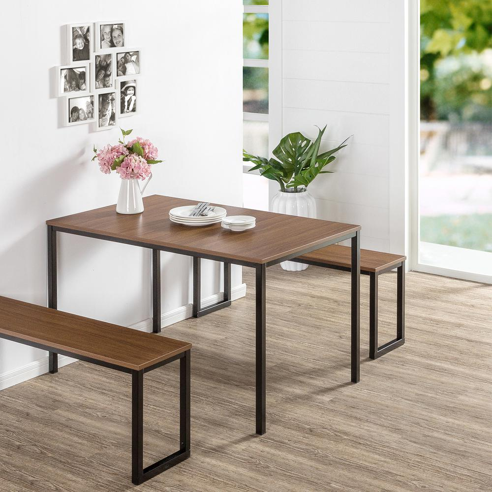 Zinus Modern Studio Collection 3 Piece Brown Soho Dining Table With  2 Benches