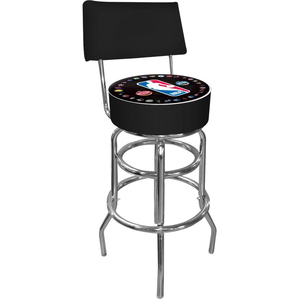 Trademark NBA Logo with All Teams 30 in. Chrome Padded Swivel Bar Stool