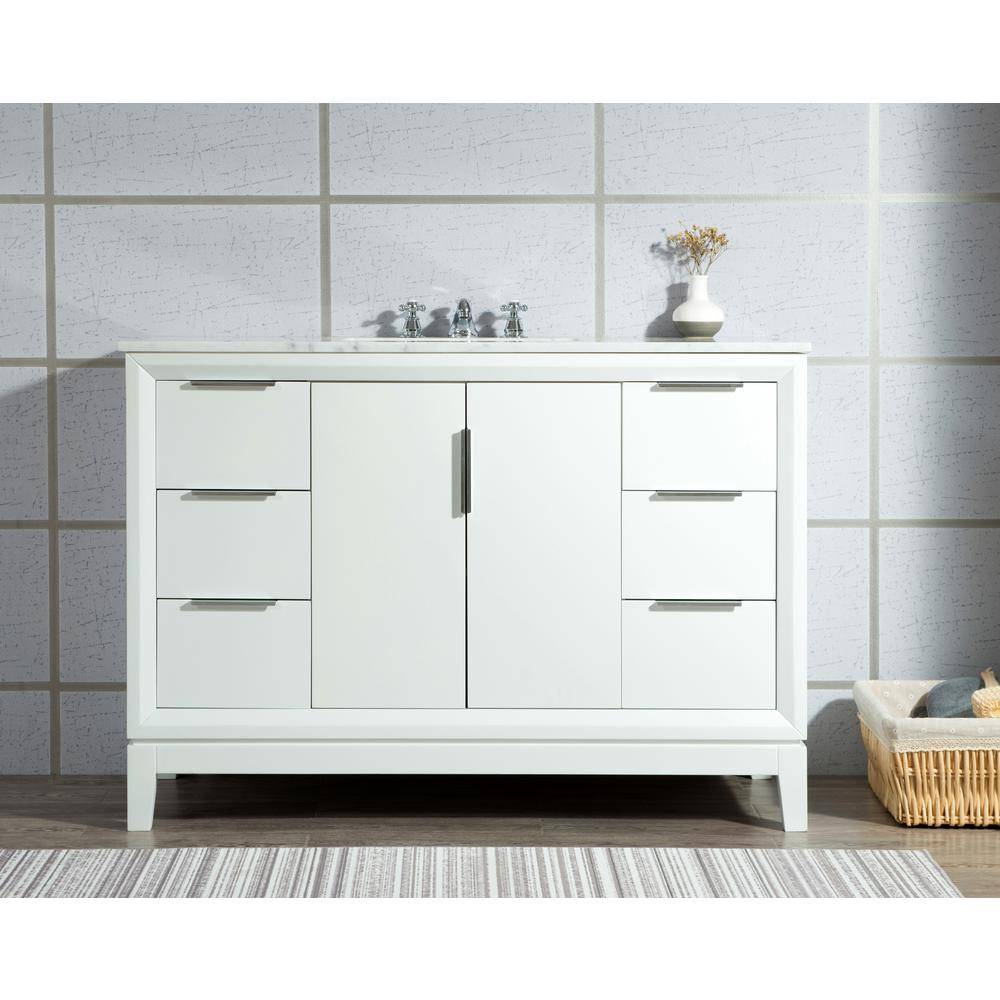 Water Creation Elizabeth Collection 48 in. Bath Vanity in Pure White With Vanity Top in Carrara White Marble - With Mirror(s)