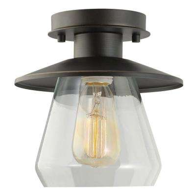 Vintage Semi-Flush Mount Oil Rubbed Bronze and Glass Ceiling Light