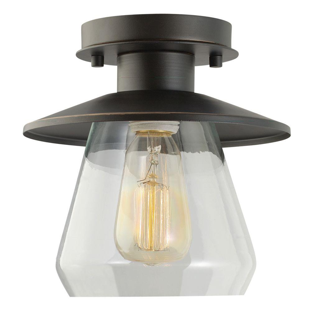 Globe Electric Vintage Semi Flush Mount Oil Rubbed Bronze And Glass Ceiling Light 64846 The