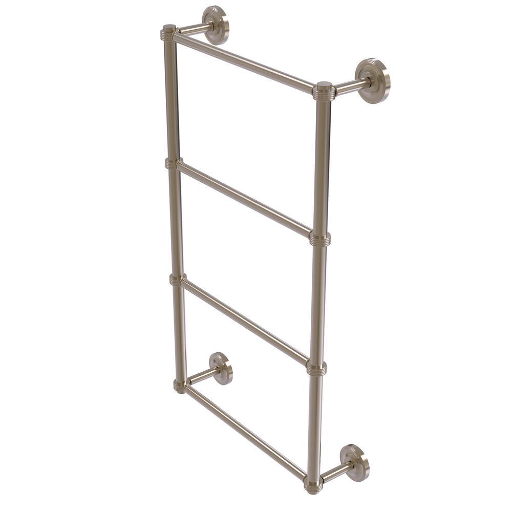 Prestige Regal 4 Tier 30 in. Ladder Towel Bar with Groovy Detail in Antique Pewter