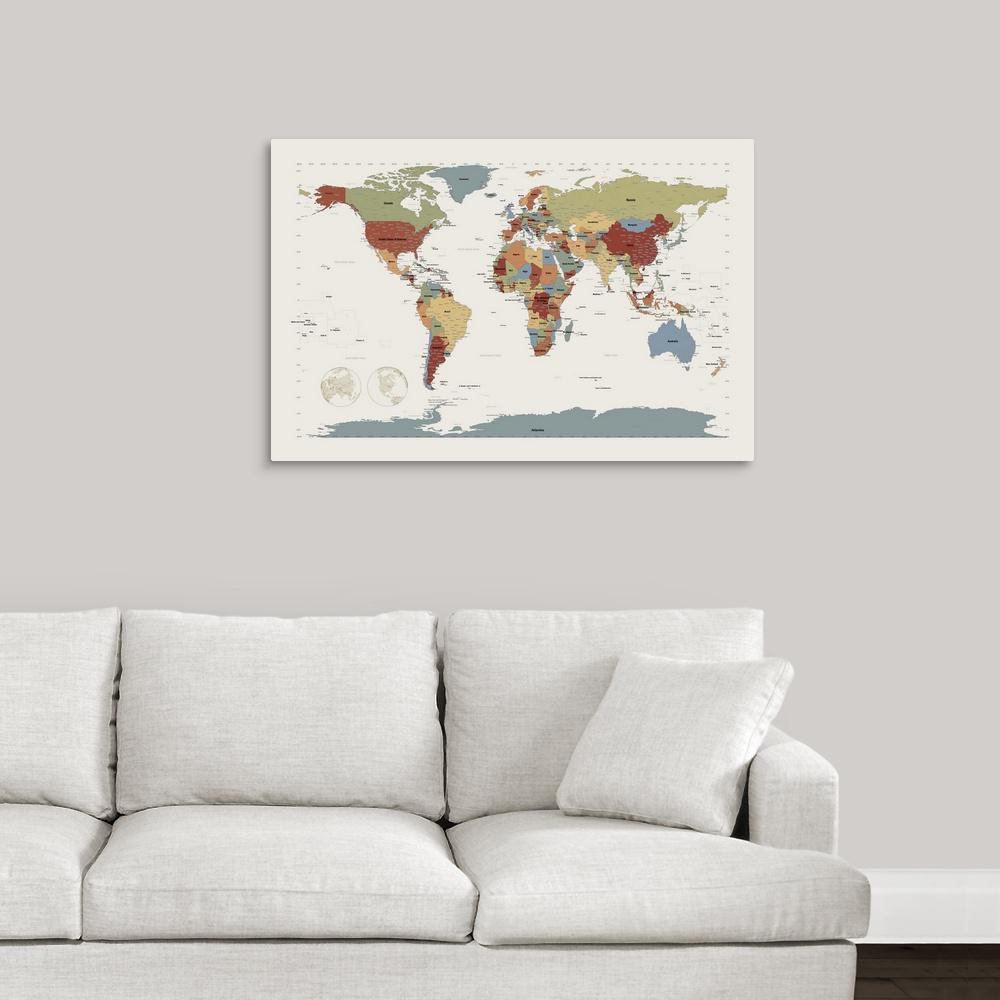 Greatbigcanvas world map in camouflage colors by michael tompsett canvas