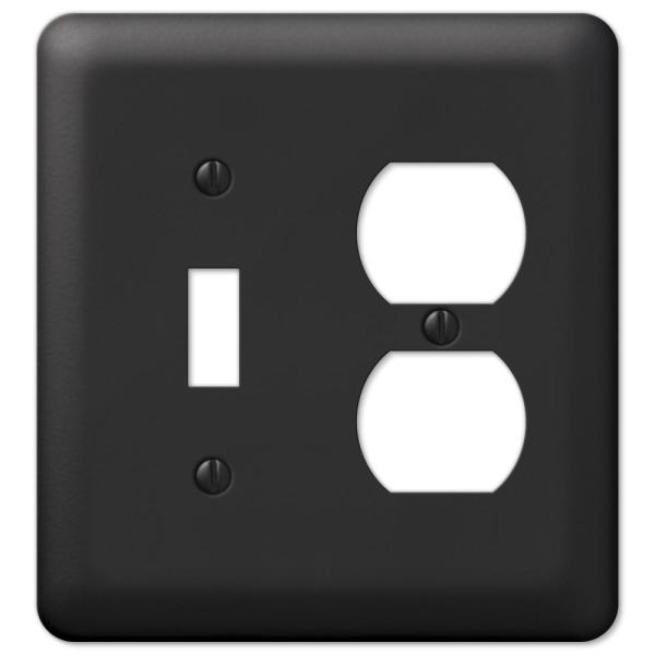 Declan 2 Gang 1-Toggle and 1-Duplex Steel Wall Plate - Black