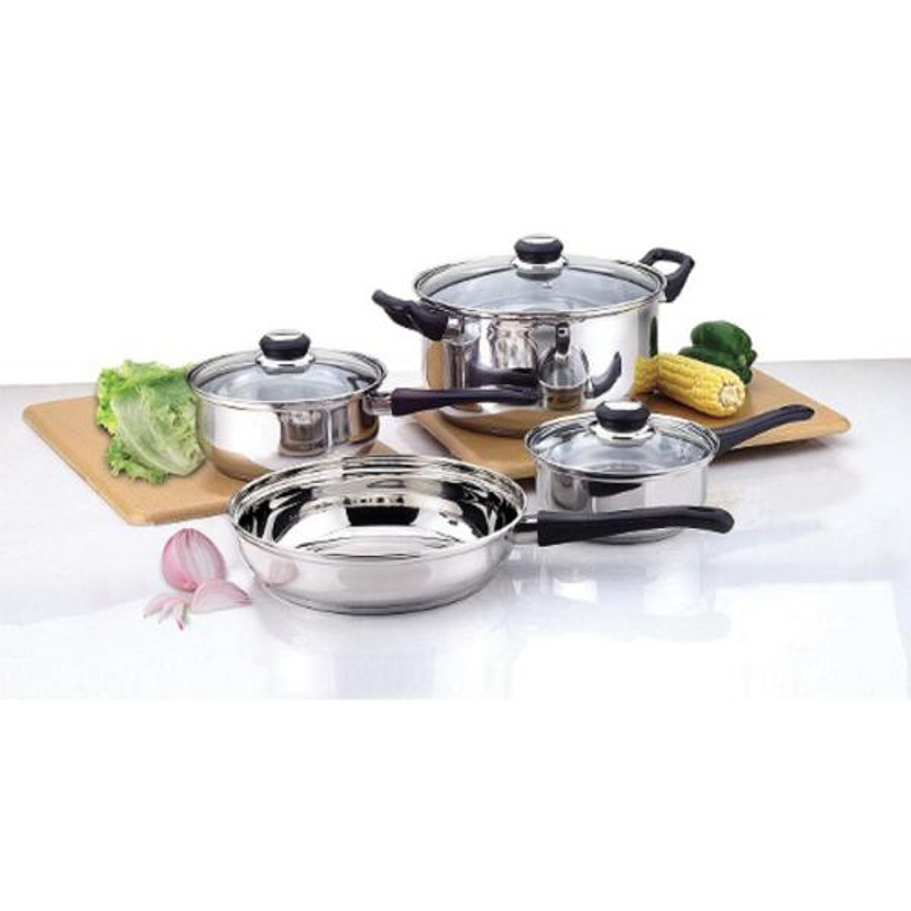 CULINARY EDGE 7-Piece Bakelite Handle Stainless Steel Cookware Set