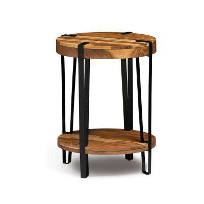 Ryegate Live Edge Brown and Black Natural Wood with Metal Round End Table