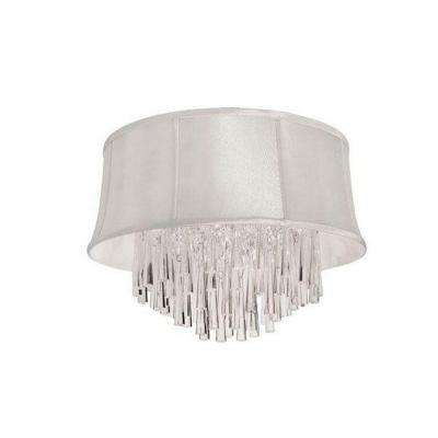 Julia 3-Light Polished Chrome Crystal Flush Mount with Pearl Bell Shade