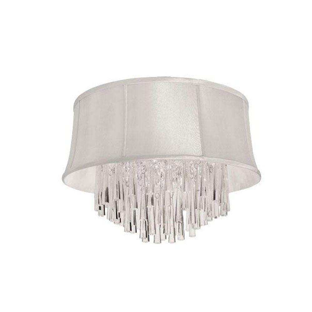 Julia 3-Light Polished Chrome Crystal Flushmount with Pearl Bell Shade