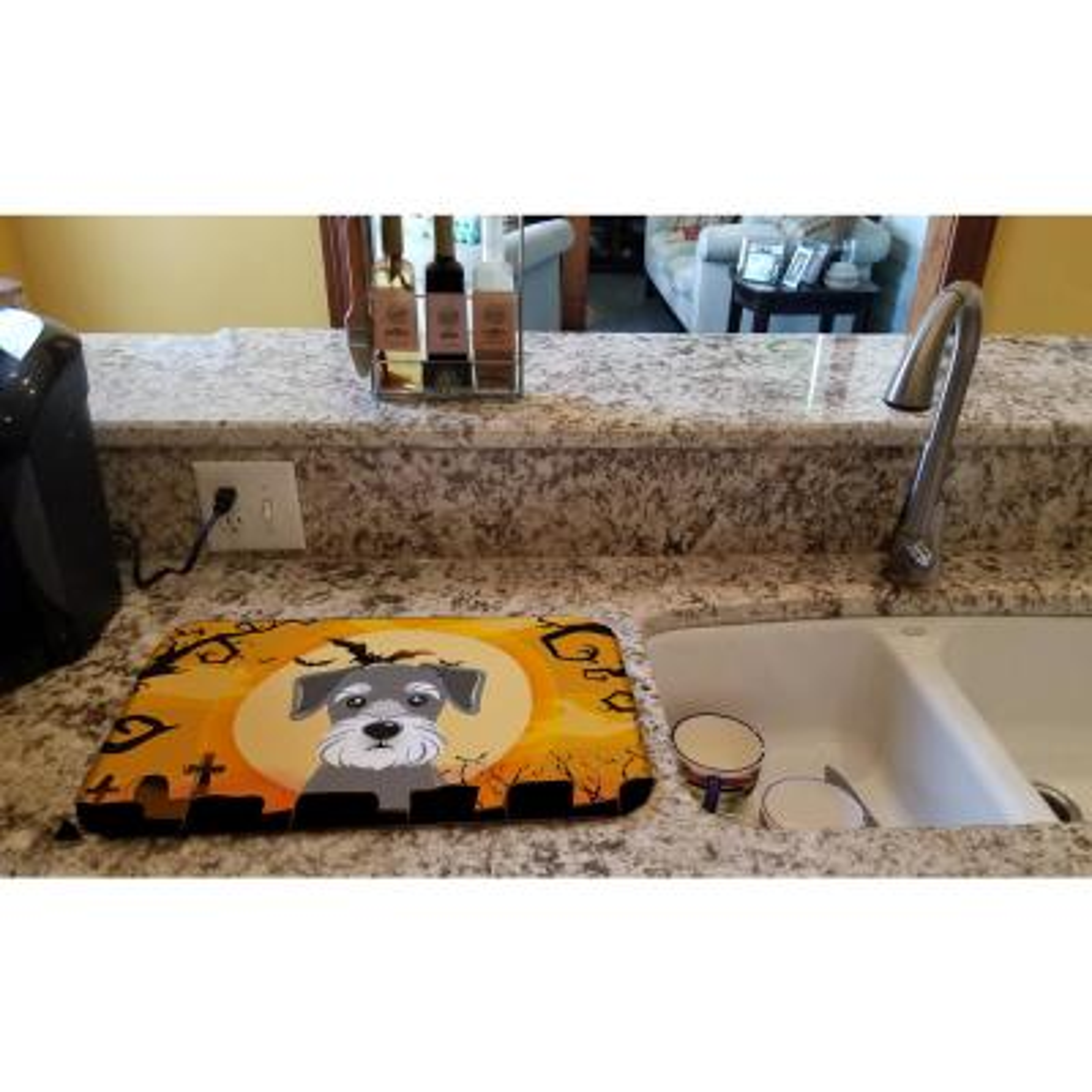 14 in. x 21 in. Multicolor Halloween Schnauzer Dish Drying Mat