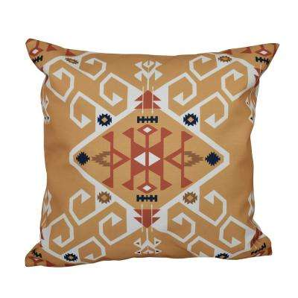 16 x 16-inch, Jodhpur Medallion, Geometric Print Pillow, Gold