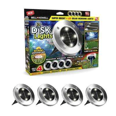 792cc95fa4d5 BELL+HOWELL Solar Powered Stainless Steel Outdoor Landscape Integrated LED  Super Bright In-Ground Path Light (4-Pack)-1998 - The Home Depot