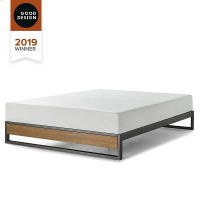 GOOD DESIGN Winner Suzanne Metal and Wood Brown King 10 in. Platforma Bed
