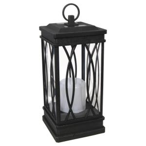 1-Light Solar Black Decorative Lantern