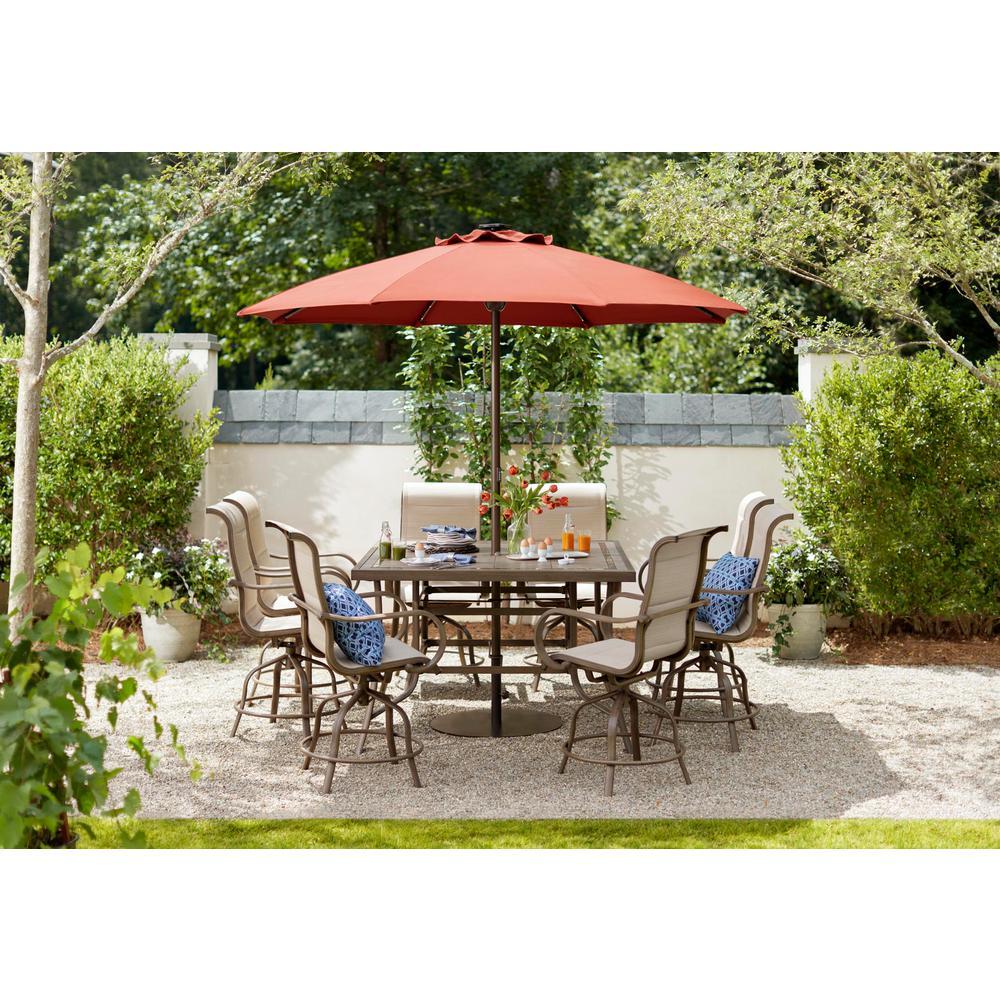 Sun Valley 9-Piece Aluminum Outdoor Bar Height Dining Set with Sunbrella Sling