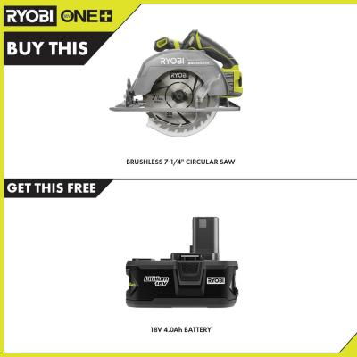 18-Volt ONE+ Cordless Brushless 7-1/4 in. Circular Saw with 4.0 Ah Lithium-Ion Battery