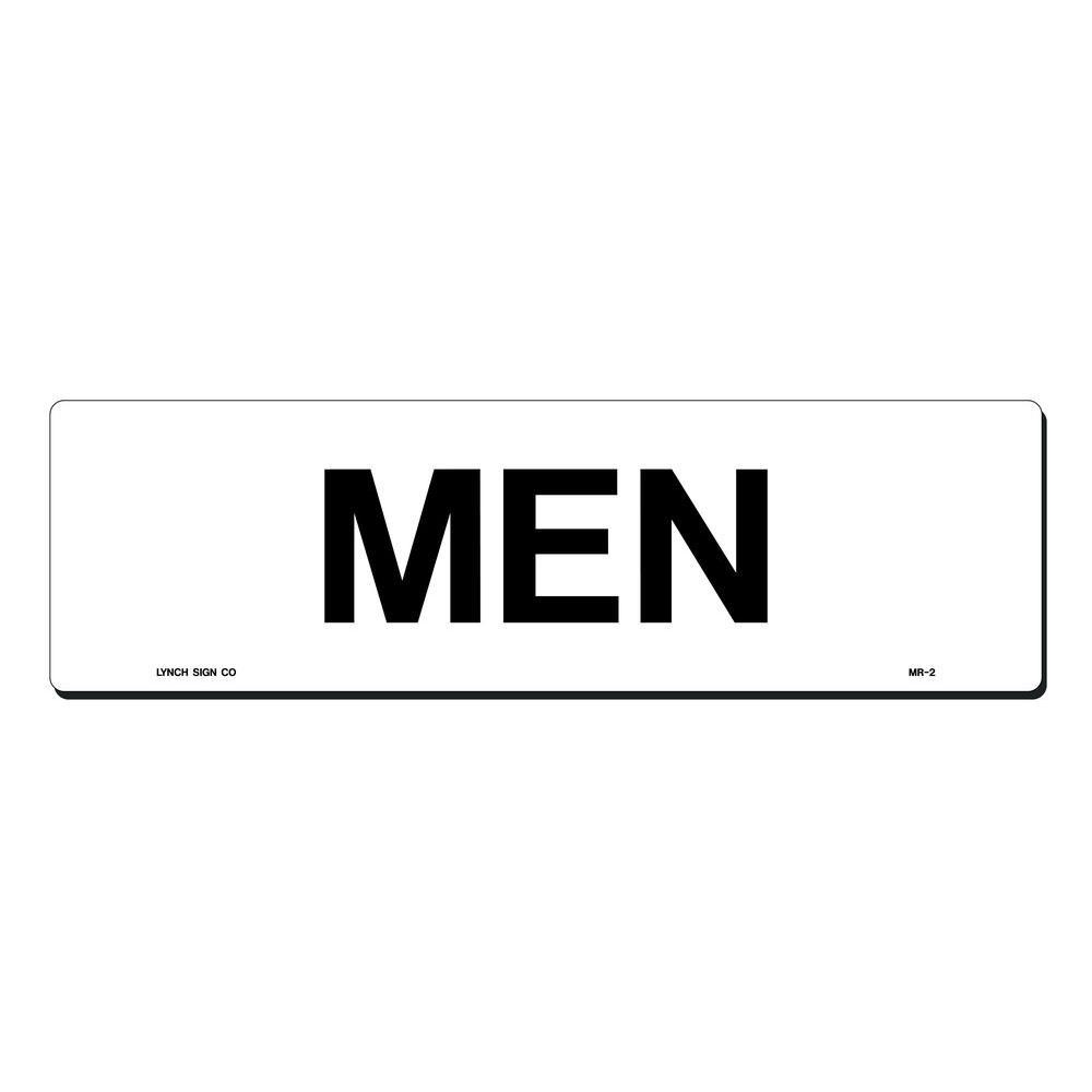 17 in. x 5 in. Black on White Plastic Men Sign
