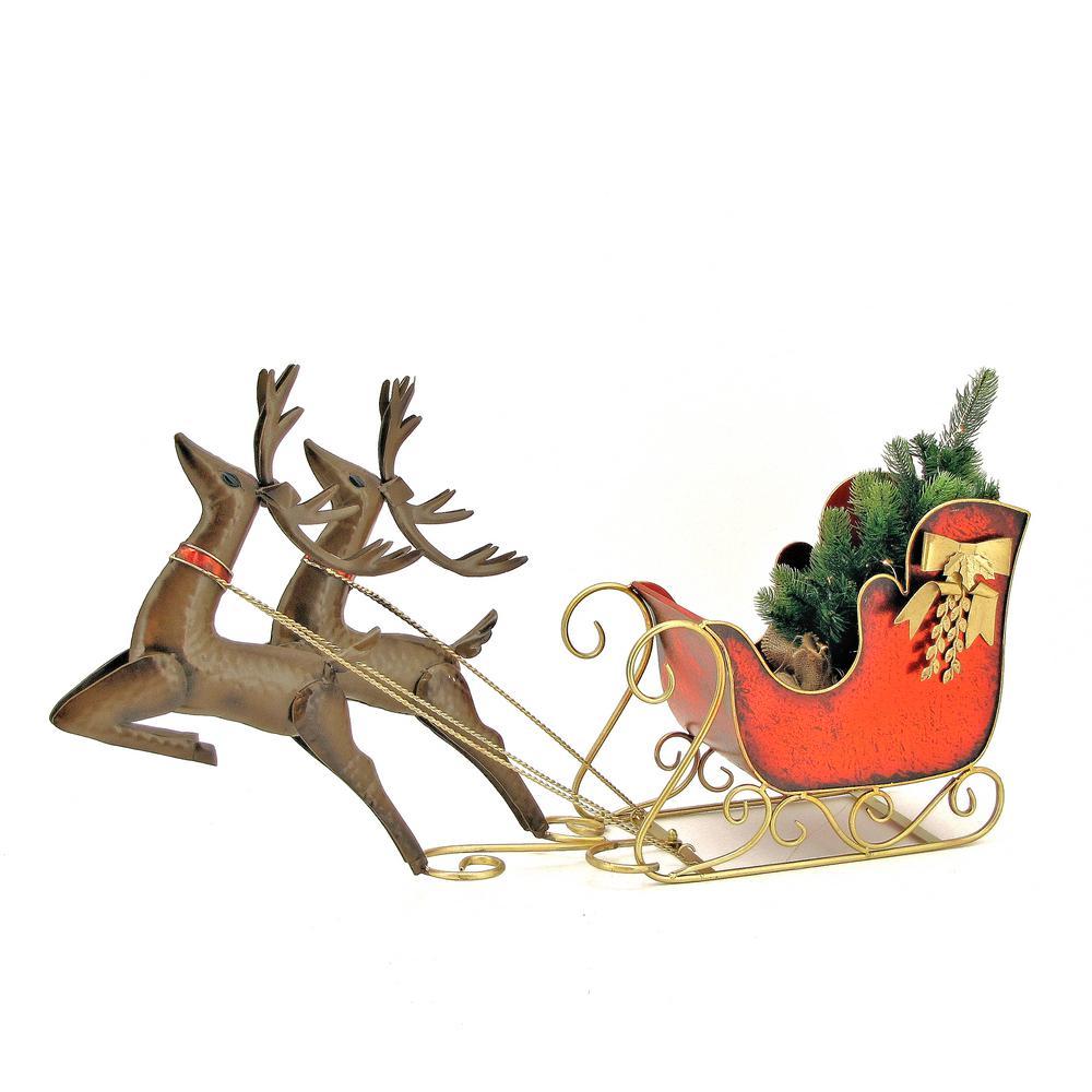 3 ft. Christmas Sleigh with Reindeer