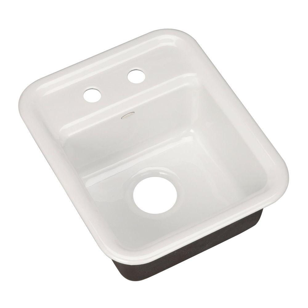KOHLER Aperitif Self-Rimming Cast-Iron 16x9x7.625 2-Hole Entertainment Sink in White-DISCONTINUED