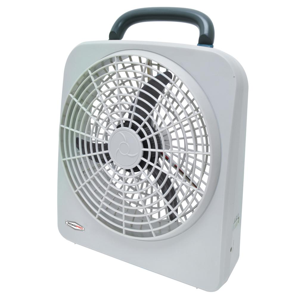Roadpro 10 Portable Fan With Dual Power Options Of 12 Volt Or D Cell Batteries Rp8000 The Home Depot