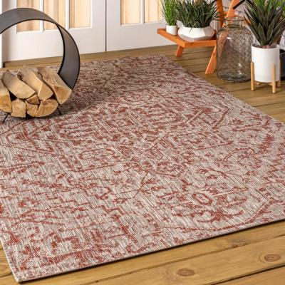 Estrella Bohemian Medallion Red/Taupe 7 ft. 9 in. x 10 ft. Textured Weave Indoor/Outdoor Area Rug