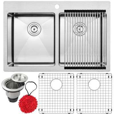 Bradford Drop-in 16-Gauge Stainless Steel 33 in. 1-Hole Double Basin Kitchen Sink with Accessory Kit