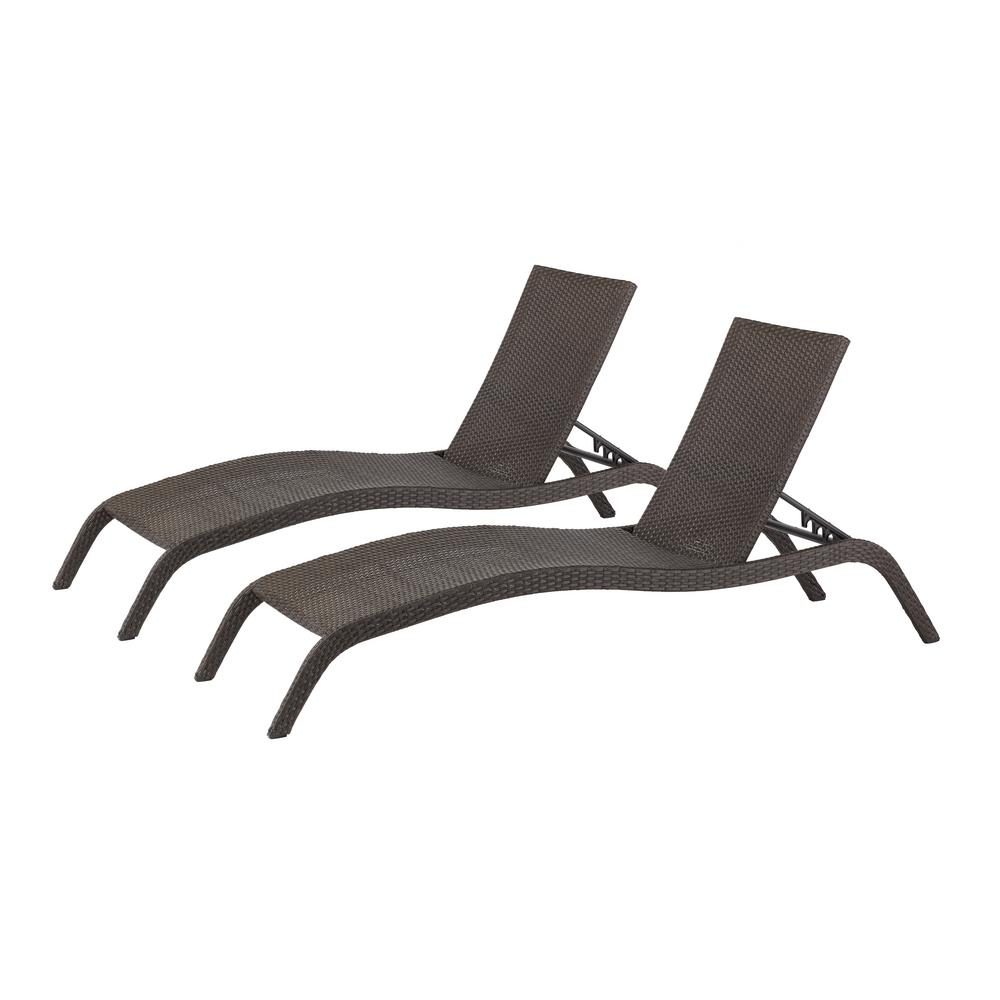 Hampton bay tacana wicker outdoor chaise lounge 2 pack for Black outdoor chaise lounge