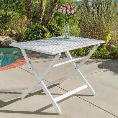 Wynter White Rectangular Folding Wood Outdoor Dining Table