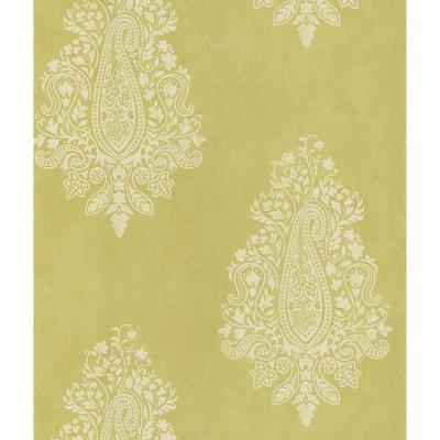 Mehndi Light Green Paisley Paper Strippable Roll Wallpaper (Covers 56.4 sq. ft.)