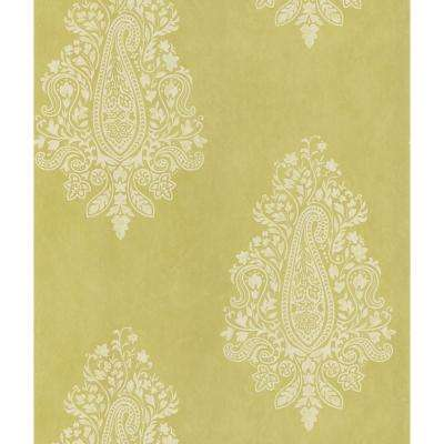 Mehndi Light Green Paisley Print Wallpaper Sample