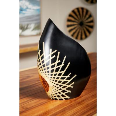 17 in. Black Glazed and Bamboo Inlay Banana Wood Decorative Vase with Exposed Bark Detail