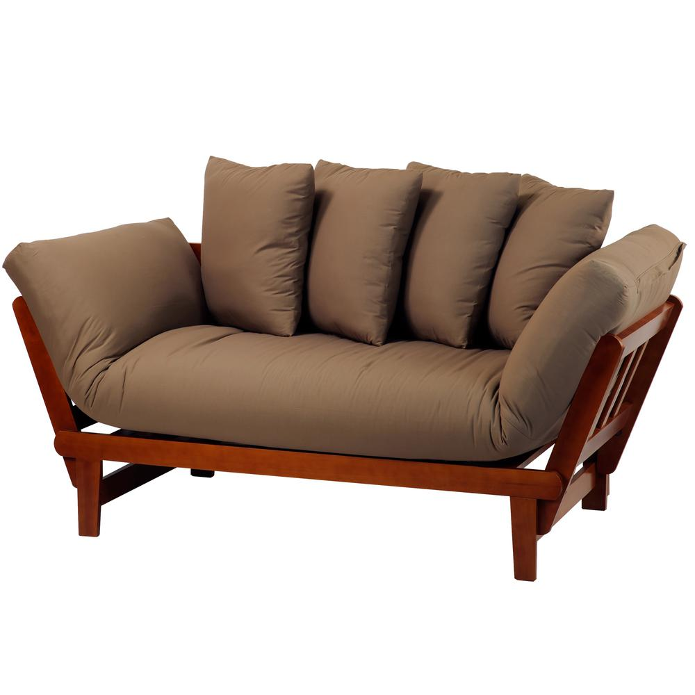Casual Oak Frame And Khaki Fabric Lounger Sofa Bed