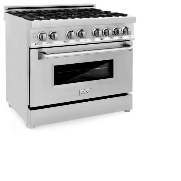 ZLINE 36 in. Professional 4.0 cu. ft. 4 Gas Burner/Electric Oven Range in Stainless Steel with Brass Burners