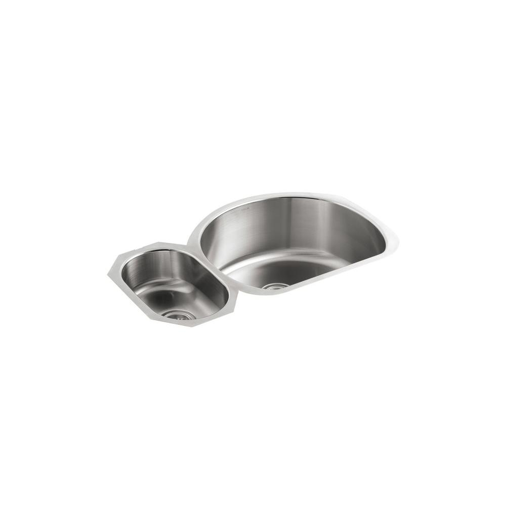 kohler double kitchen sink kohler undertone undermount stainless steel 35 in 6682