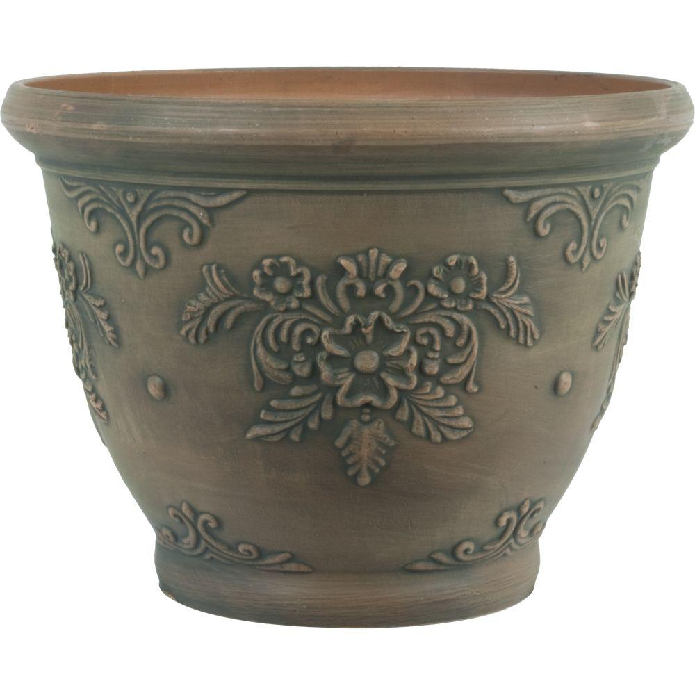 12 in. Dia Floral Brown Plastic Planter