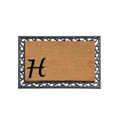 A1HC First Impression 24 in. x 36 in. Rubber Tray Door Mat-Monogrammed H