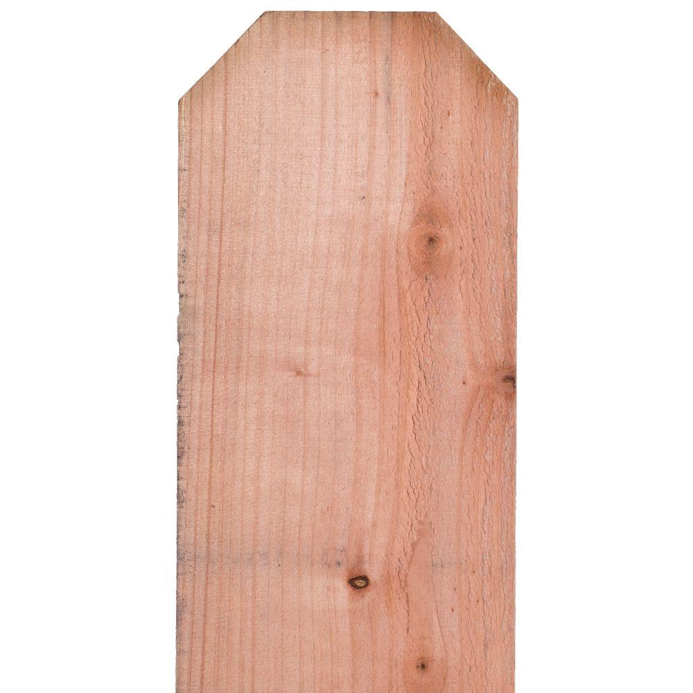 Mendocino Forest Products 11/16 in. x 7-1/2 in. x 6 ft. FSC Con Heart Redwood Dog Ear Fence Picket