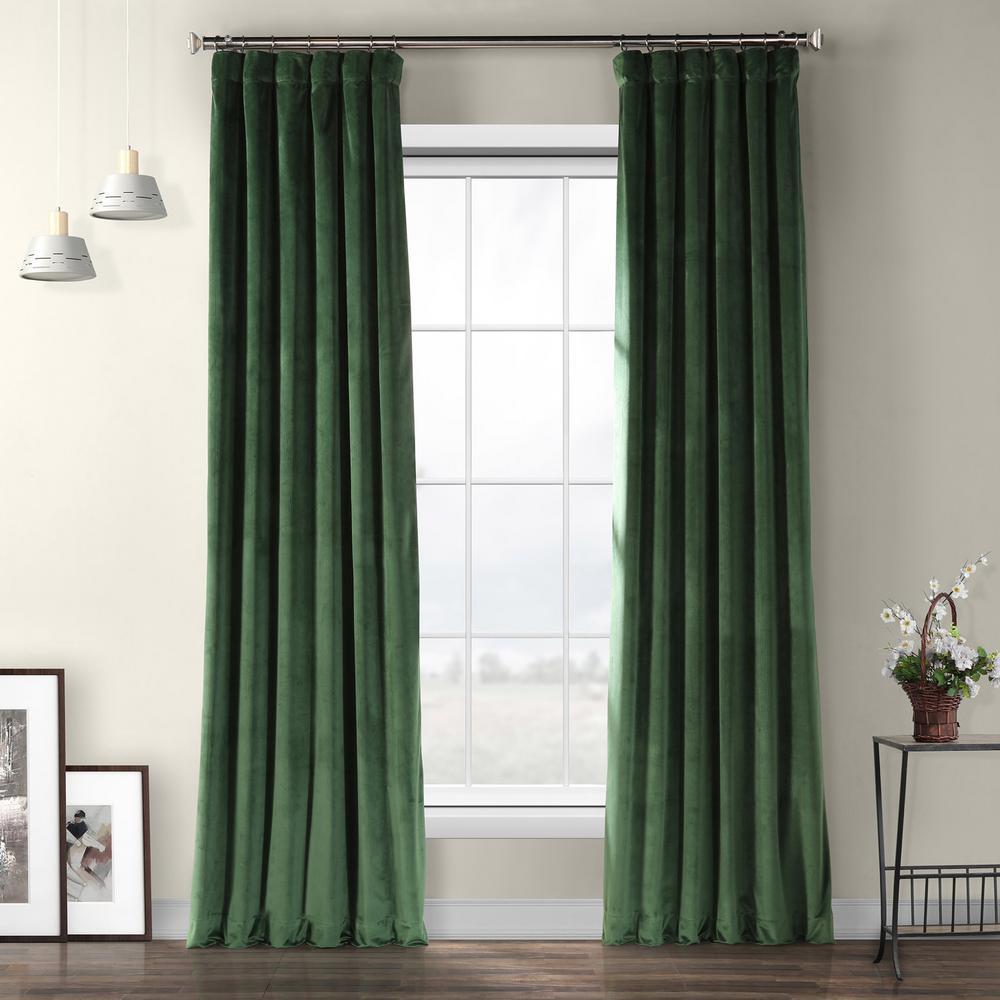 Eden Green Heritage Plush Velvet Curtain - 50 in. W x 120 in. L