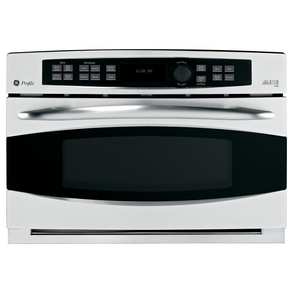 GE Profile Advantium 30 in. Single Electric Wall Oven with Convection in Stainless Steel