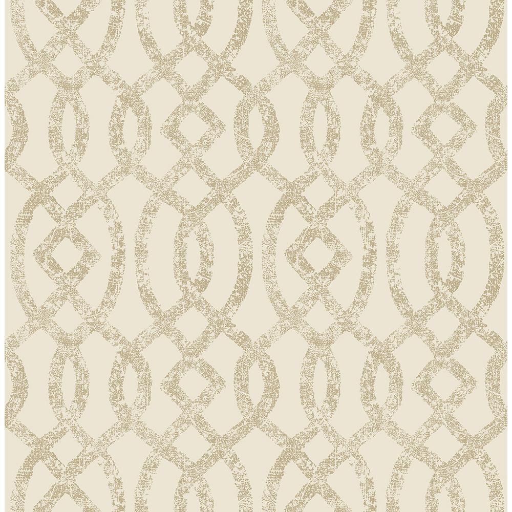 8 in. x 10 in. Ethereal Bronze Trellis Wallpaper Sample