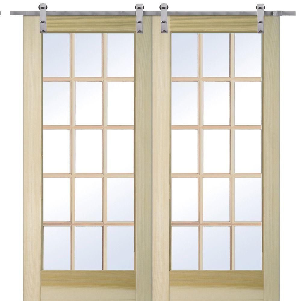 MMI Door 72 in. x 80 in. Poplar 15-Lite Double Door with  sc 1 st  The Home Depot & MMI Door 72 in. x 80 in. Poplar 15-Lite Double Door with Barn Door ...