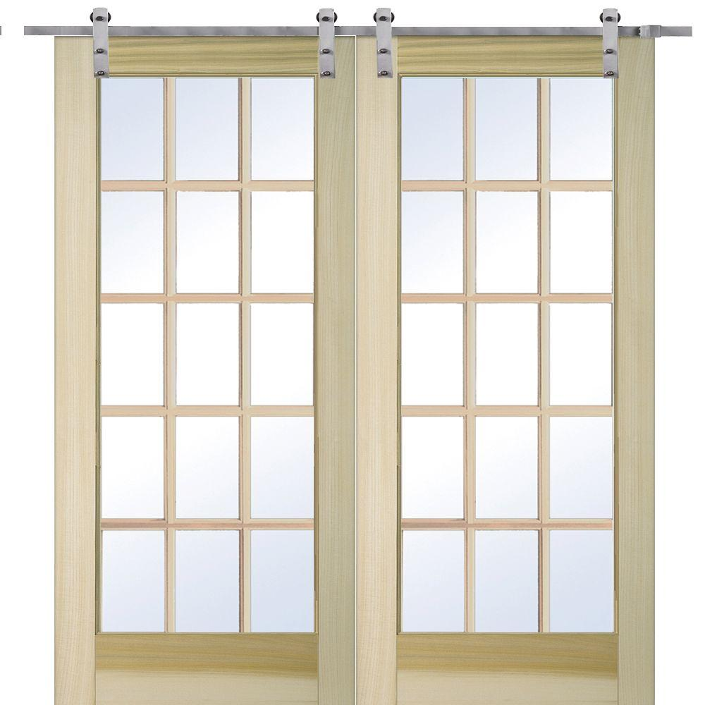 Mmi Door 72 In X 80 Poplar 15 Lite Double With Barn Hardware Kit