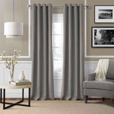 Elrene Essex 50 in. W x 95 in. L Polyester Single Window Curtain Panel in Gray