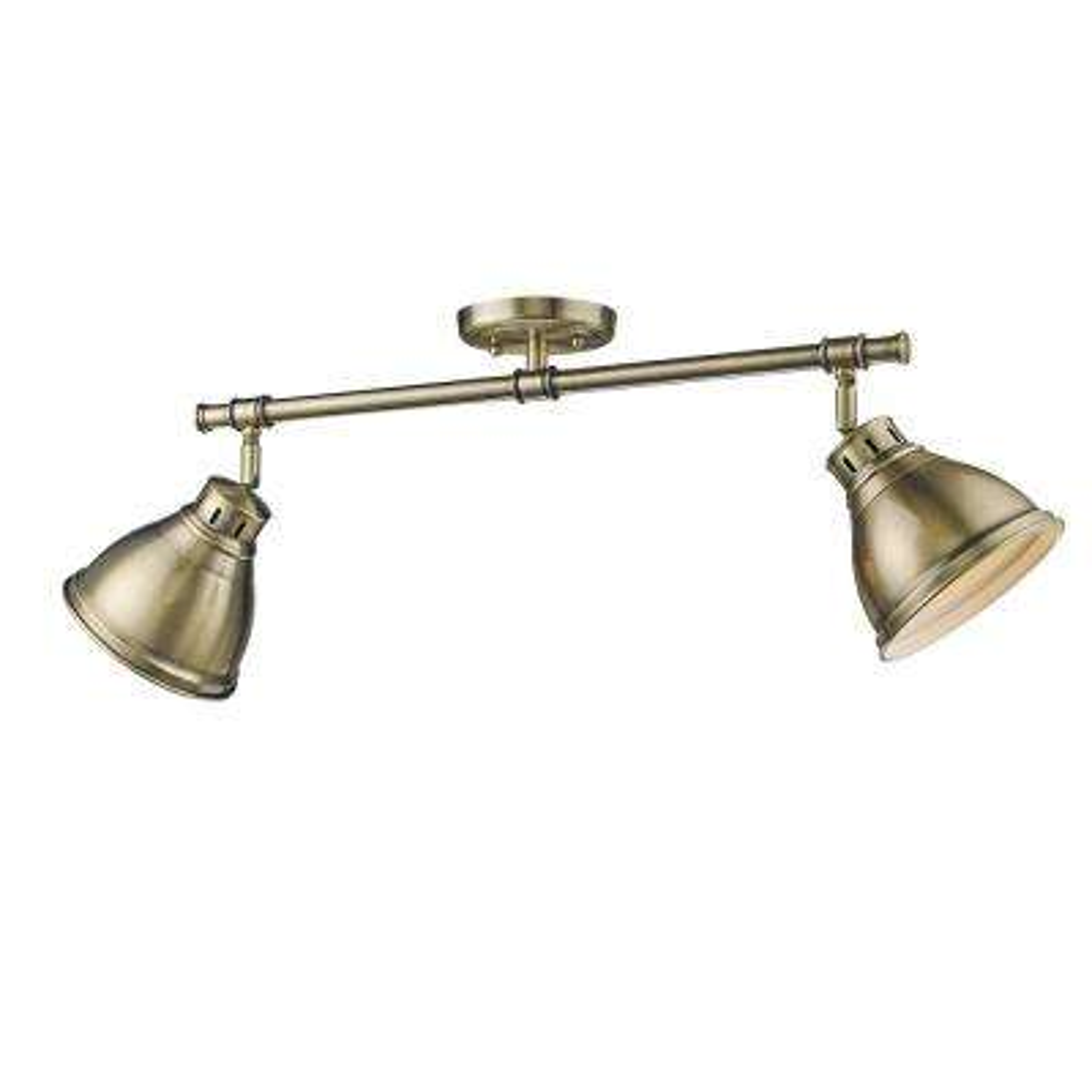 Duncan AB 2-Light Aged Brass Semi-flushmount Light