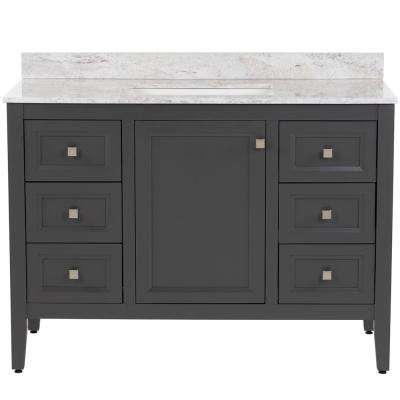 Darcy 49 in. W x 22 in. D Bath Vanity in Shale Gray with Stone Effects Vanity Top in Winter Mist with White Basin