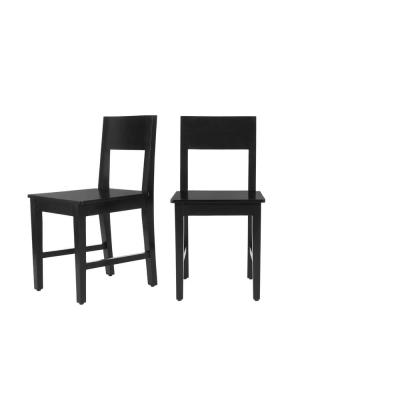 Avalia Ebony Wood Dining Chair (Set of 2) (17 in. W x 34 in. H)