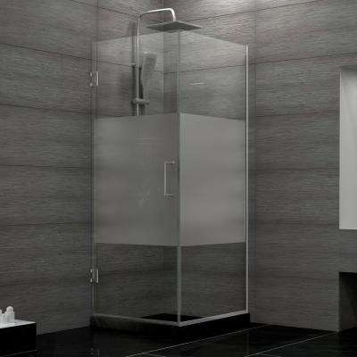 Unidoor Plus 30-3/8 in. x 30 in. x 72 in. Hinged Shower Enclosure with Half Frosted Glass Door in Chrome