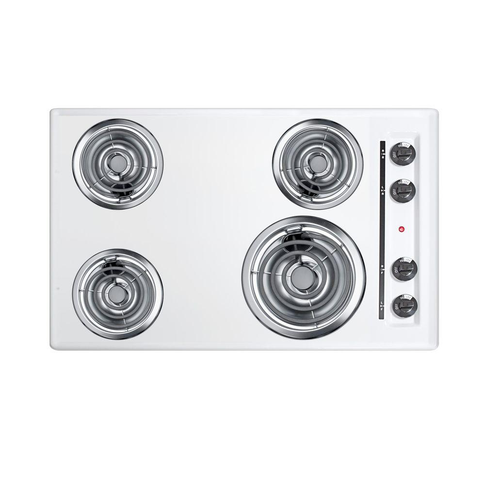 Summit Appliance 30 in. Coil Electric Cooktop in White with 4 Elements