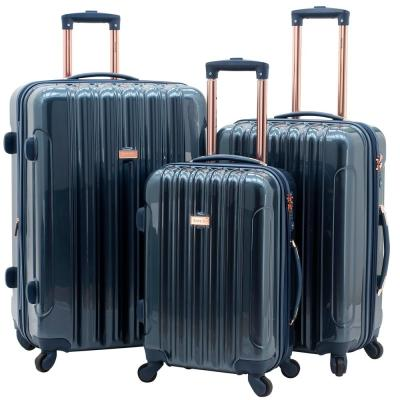 3-Piece Metallic Vertical Rolling Luggage Set with Spinner Wheels (Kensie)