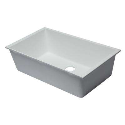 Undermount Granite Composite 33 in. Single Bowl Kitchen Sink in White