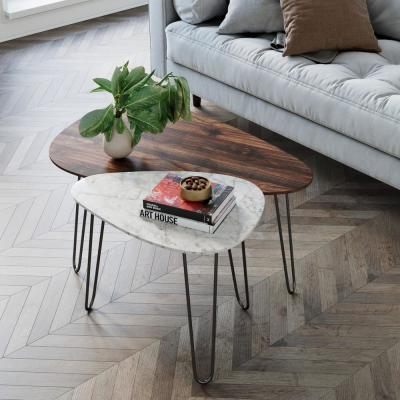 Bodhi Faux Marble and Walnut Wood Unique Stacking or Nesting Living Room Coffee Table Set of 2